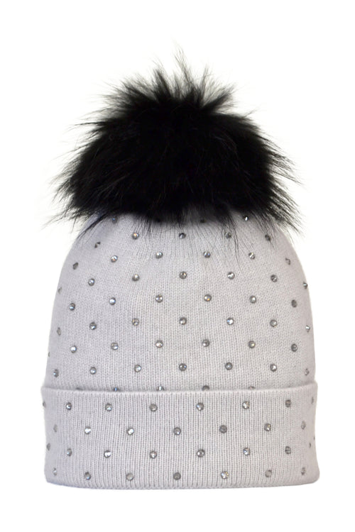 Dove Gray Cashmere Beanie with Scattered Crystals & Black Pom