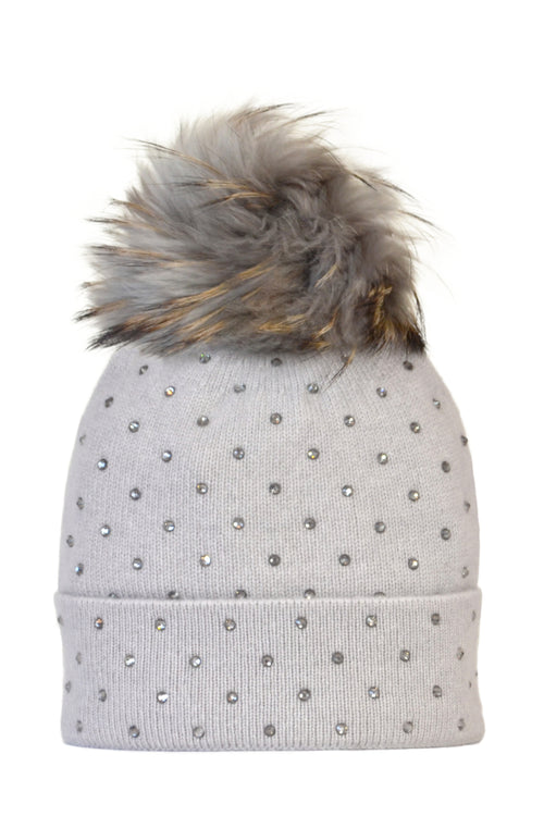 Dove Gray Cashmere Beanie with Scattered Crystals & Dove Gray Pom