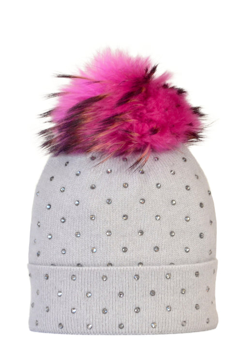 Dove Gray Cashmere Beanie with Scattered Crystals & Hot Pink Pom
