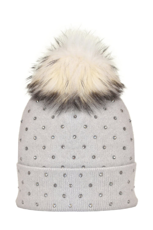 Dove Gray Cashmere Beanie with Scattered Crystals & Ivory Pom
