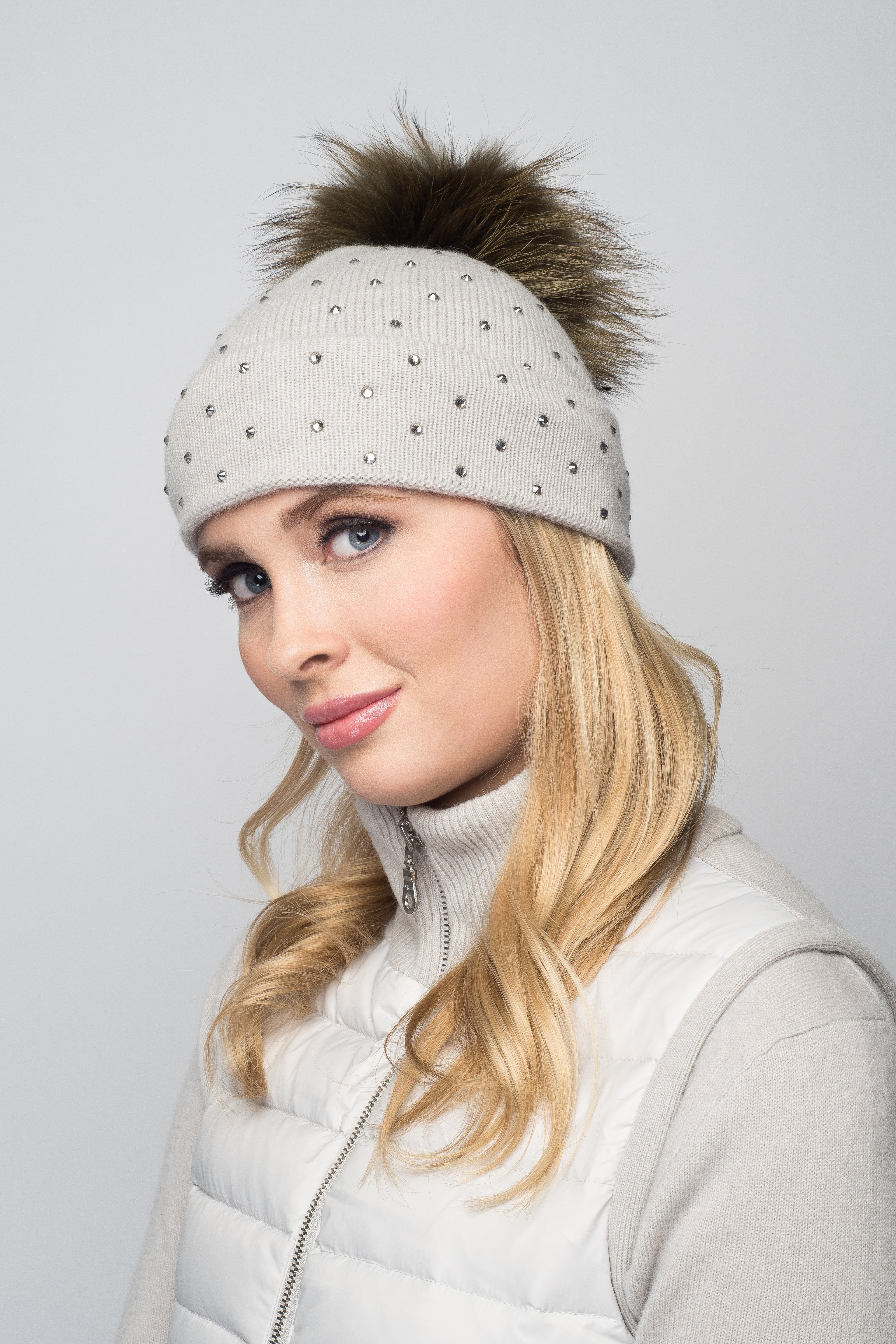 Dove Gray Cashmere Beanie with Scattered Crystals & Khaki Pom