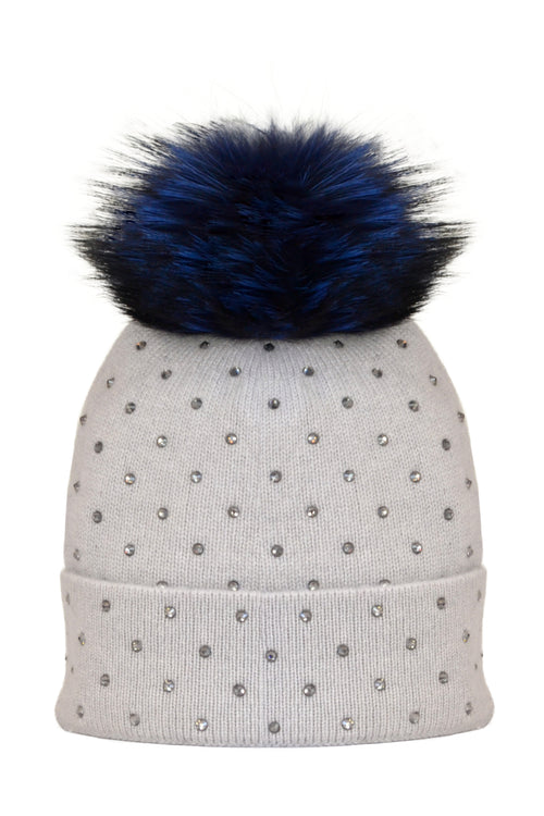 Dove Gray Cashmere Beanie with Scattered Crystals & Midnight Blue Pom