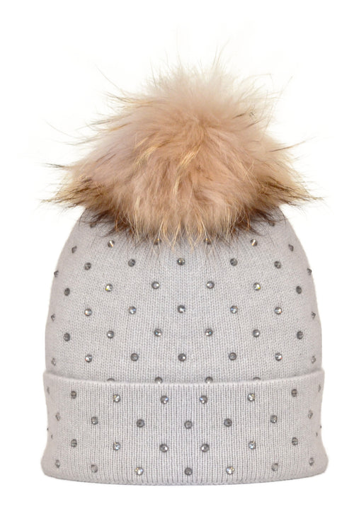 Dove Gray Cashmere Beanie with Scattered Crystals & Oatmeal Pom