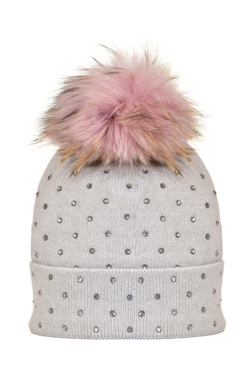 Dove Gray Cashmere Beanie with Scattered Crystals & Pale Pink Pom