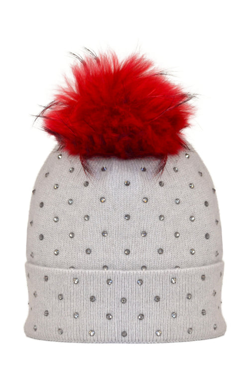 Dove Gray Cashmere Beanie with Scattered Crystals & Red Pom