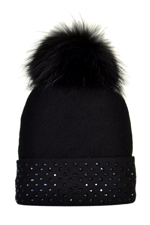 Black Cashmere Beanie with Crystals on Fold Over & Black Pom