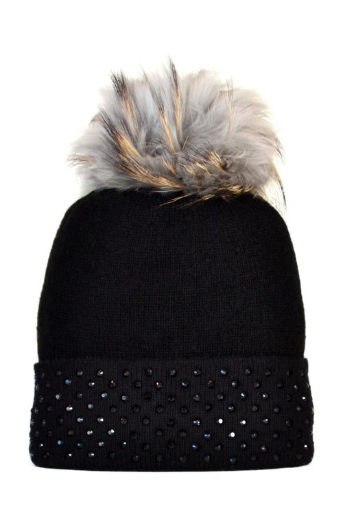 Black Cashmere Beanie with Crystals on Fold Over & Dove Gray Pom