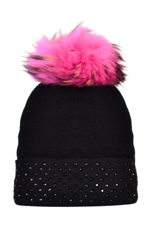 Black Cashmere Beanie with Crystals on Fold Over & Hot Pink Pom