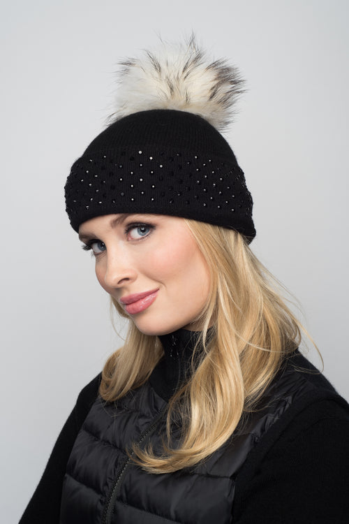 Black Cashmere Beanie with Crystals on Fold Over & Ivory Pom