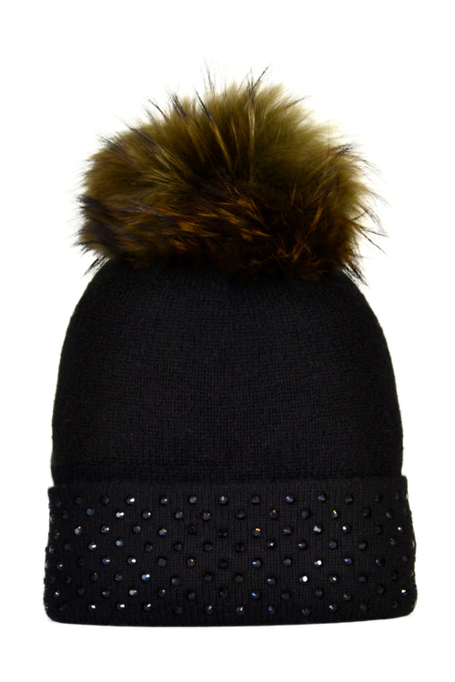 Black Cashmere Beanie with Crystals on Fold Over & Khaki Pom