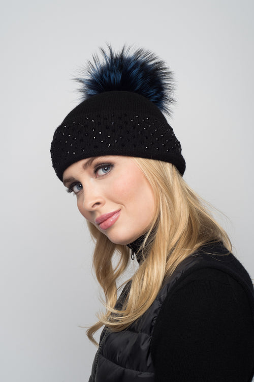 Black Cashmere Beanie with Crystals on Fold Over & Midnight Blue Pom