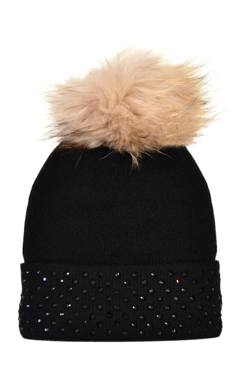 Black Cashmere Beanie with Crystals on Fold Over & Oatmeal Pom