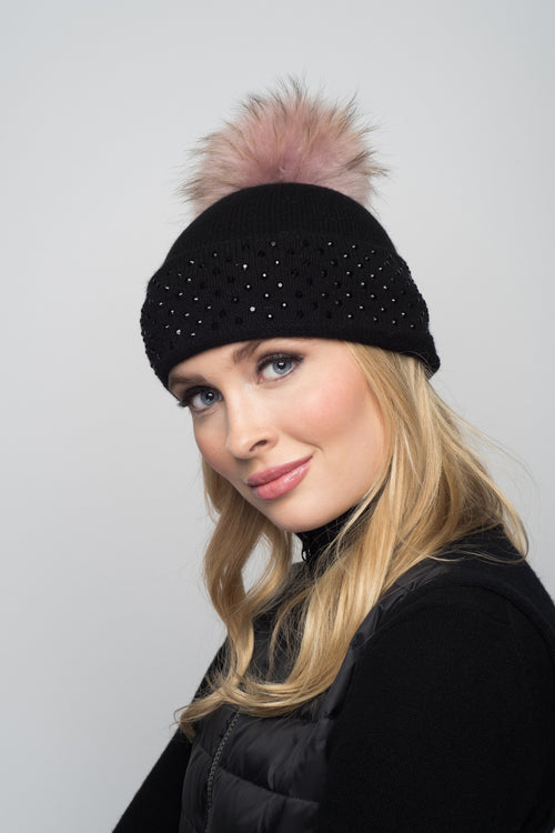 Black Cashmere Beanie with Crystals on Fold Over & Pale Pink Pom