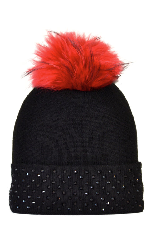 Black Cashmere Beanie with Crystals on Fold Over & Red Pom