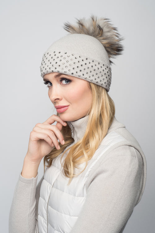 Dove Gray Cashmere Beanie with Crystals on Fold Over & Dove Gray Pom