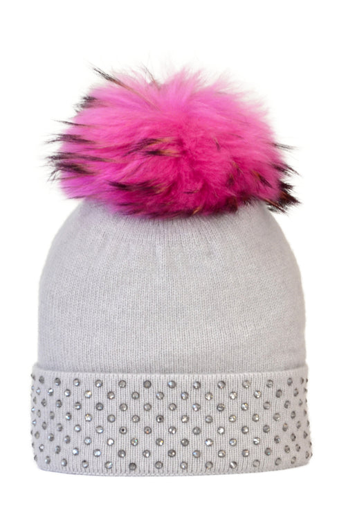 Dove Gray Cashmere Beanie with Crystals on Fold Over & Hot Pink Pom