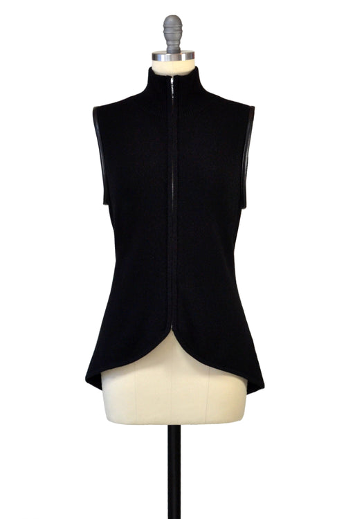 Cashmere Vest with Leather Piping in Black