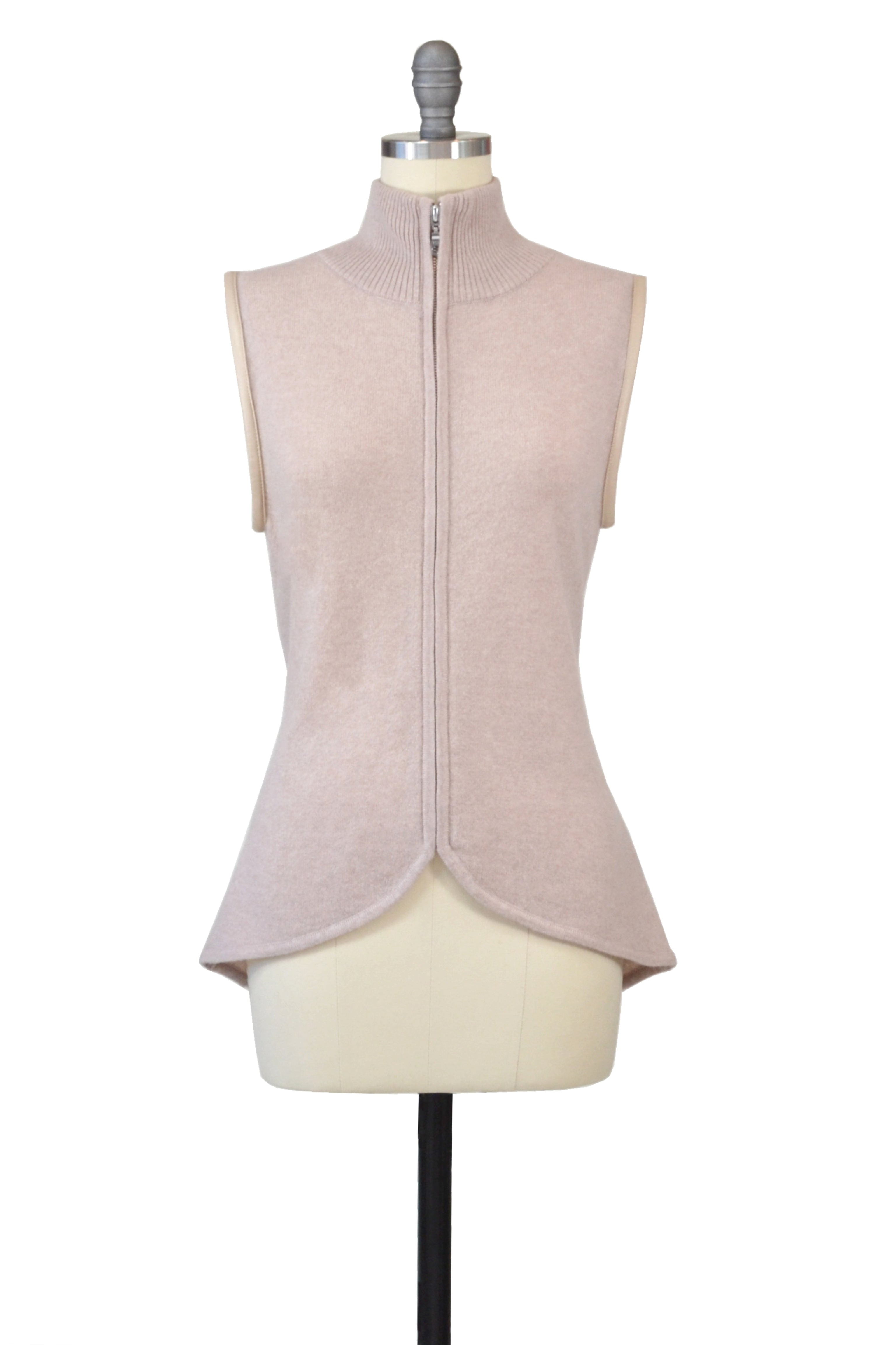Cashmere Vest with Leather Piping in Blush