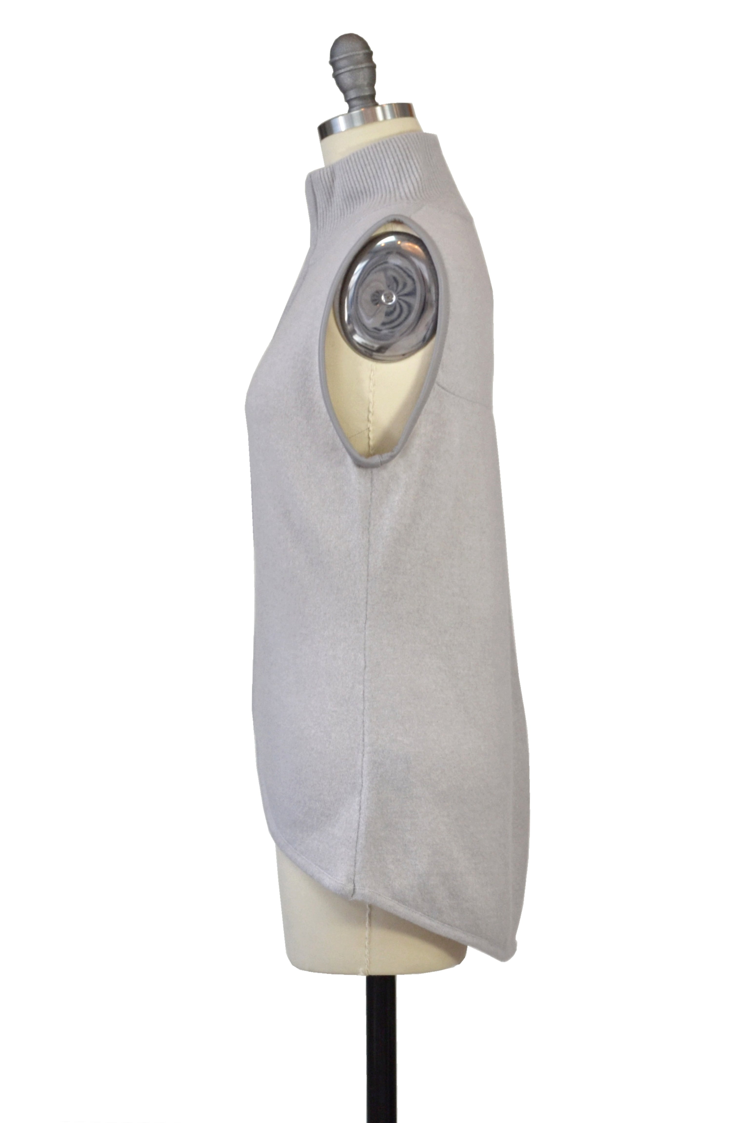Cashmere Vest with Leather Piping in Dove Gray