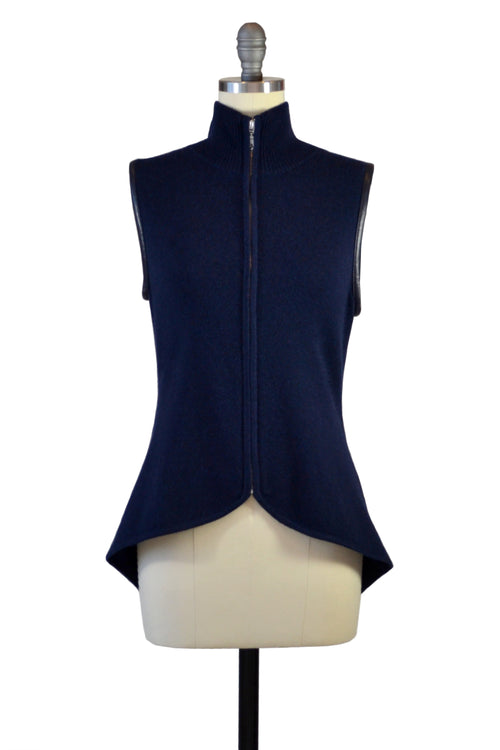 Cashmere Vest with Leather Piping in Midnight Blue