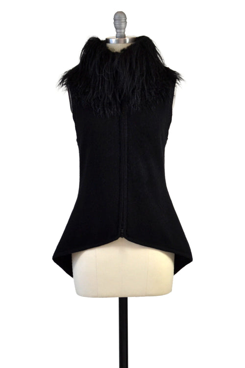 Cashmere Vest with Tibetan Sheep Collar in Black