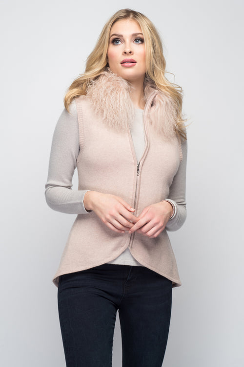 Cashmere Vest with Tibetan Sheep Collar in Blush