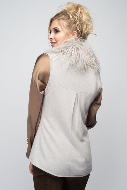 Cashmere Vest with Tibetan Sheep Collar in Dove Gray