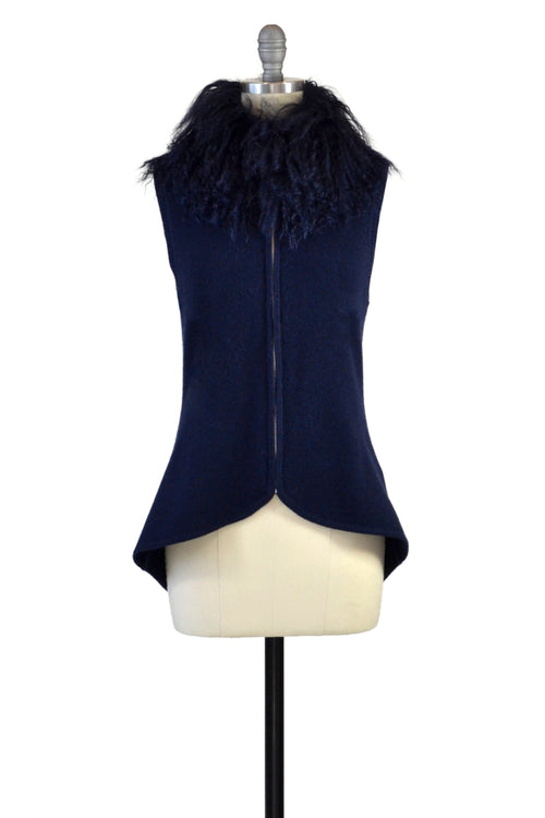 Cashmere Vest with Tibetan Sheep Collar in Midnight Blue