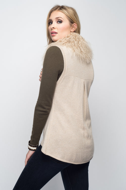 Cashmere Vest with Tibetan Sheep Collar In Oatmeal