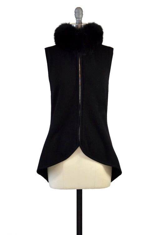 Cashmere Vest with Fox Fur Collar in Black