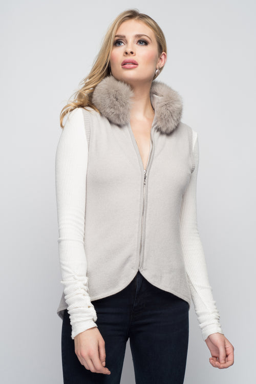 Cashmere Vest with Fox Fur Collar in Dove Gray