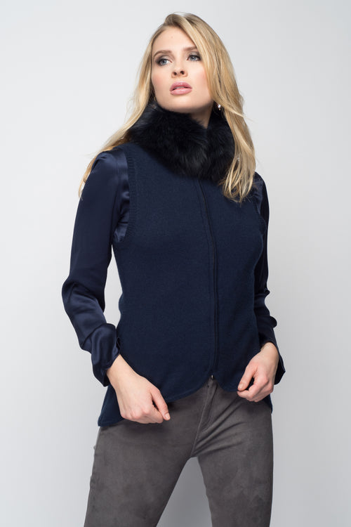 Cashmere Vest with Fox Fur Collar in Midnight Blue