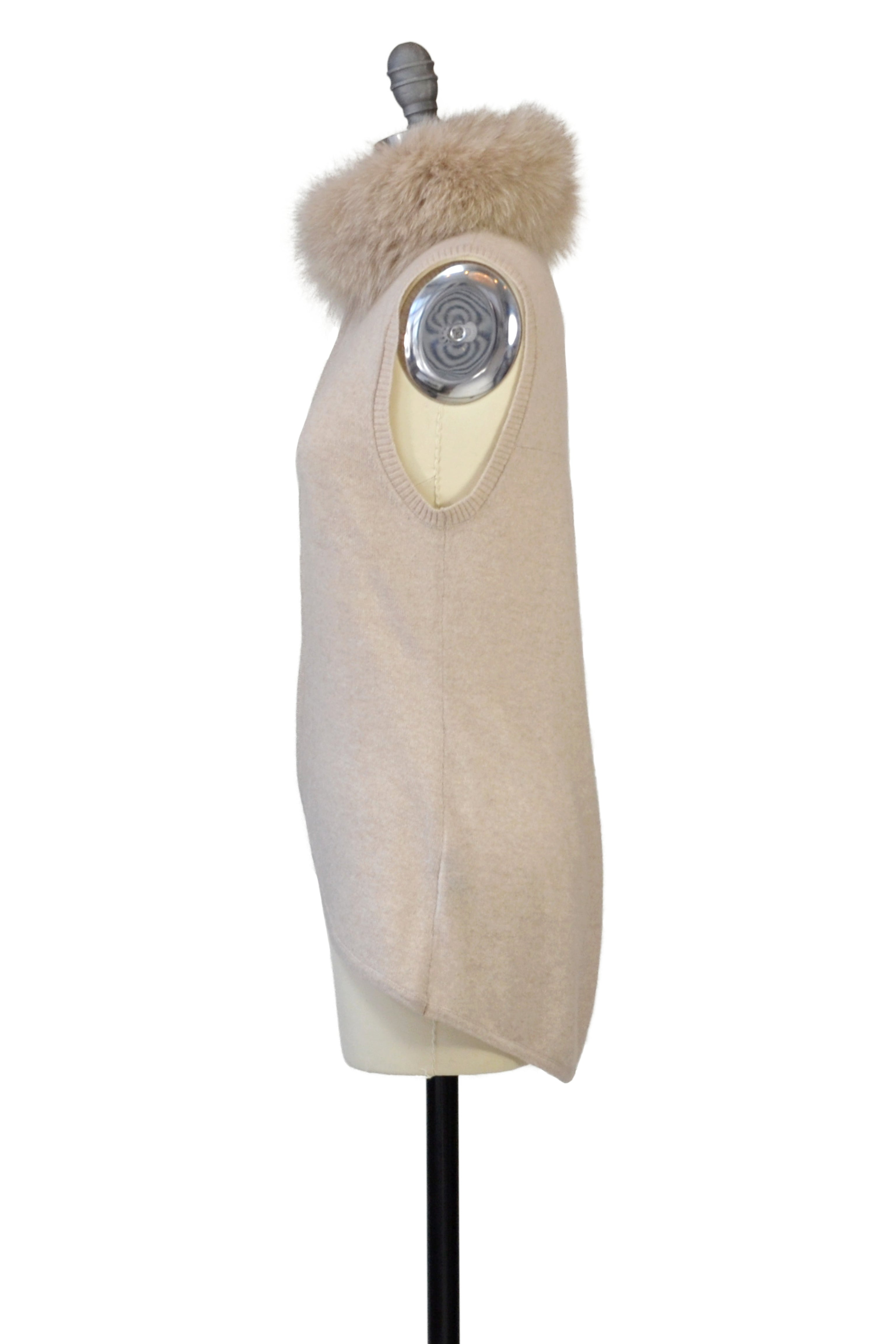 Cashmere Vest with Fox Fur Collar in Oatmeal
