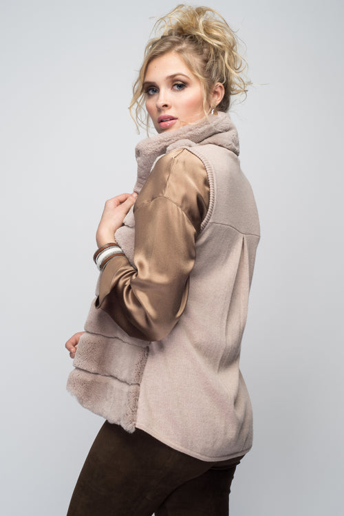 Cashmere & Rex Rabbit Vest in Blush