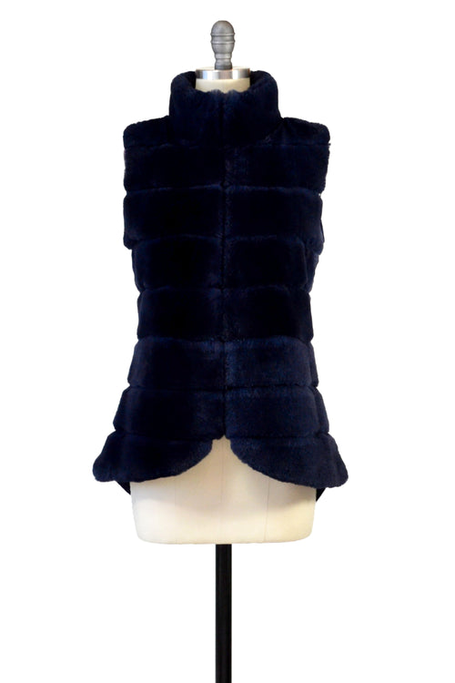 Cashmere & Rex Rabbit Vest in Midnight Blue