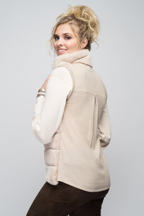 Cashmere & Rex Rabbit Vest in Oatmeal