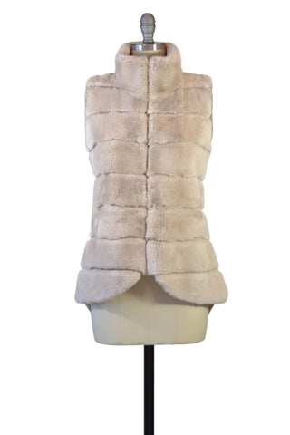Cashmere Duster with Tibetan Sheep Fur Trim in Blush