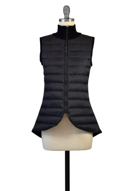 Cashmere & Puffer Vest in Black
