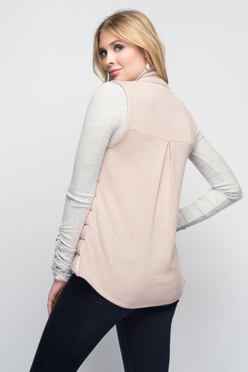 Cashmere & Puffer Vest in Blush