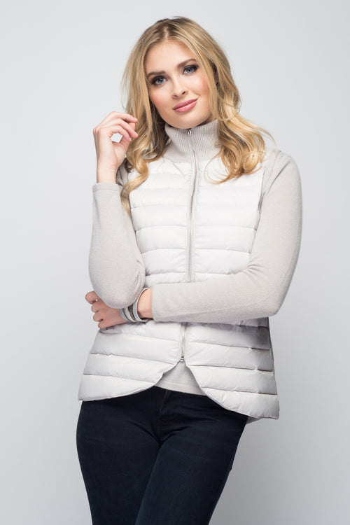 Cashmere & Puffer Vest in Dove Gray