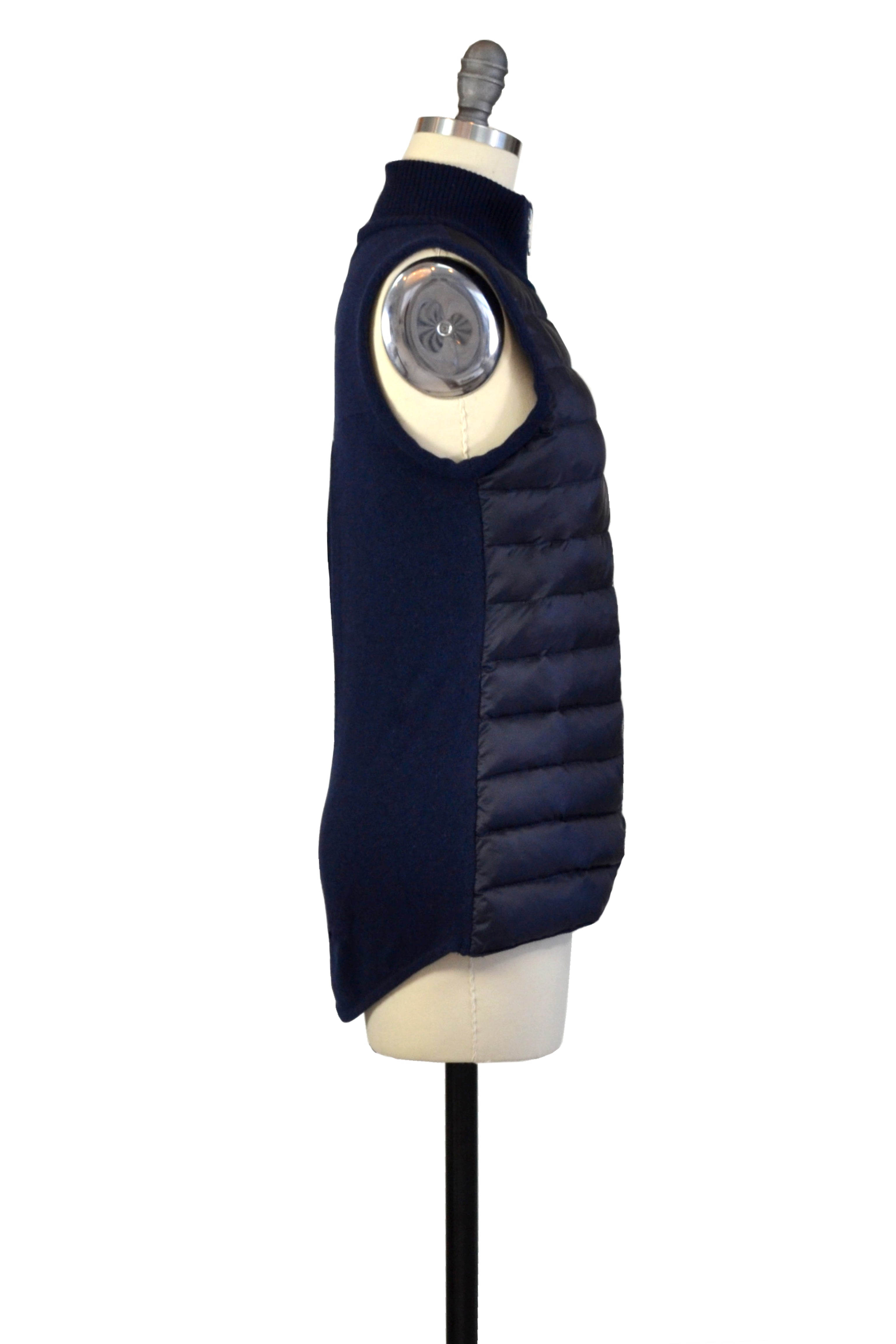 Cashmere & Puffer Vest in Midnight Blue