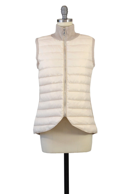 Cashmere & Puffer Vest in Oatmeal