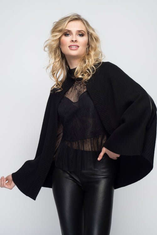 Cashmere Swing Poncho with Leather Trim in Black