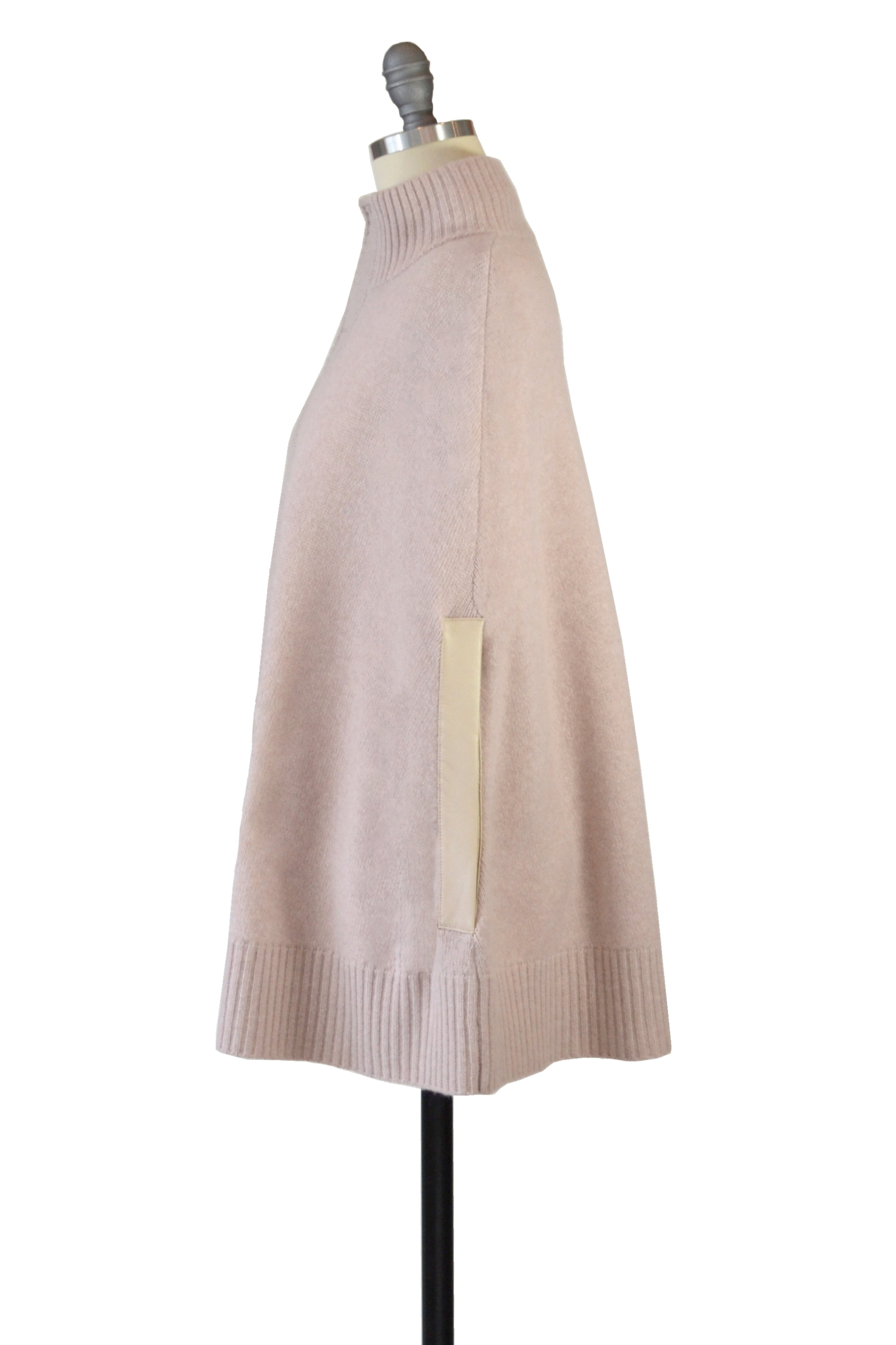 Cashmere Swing Poncho with Leather Trim in Blush