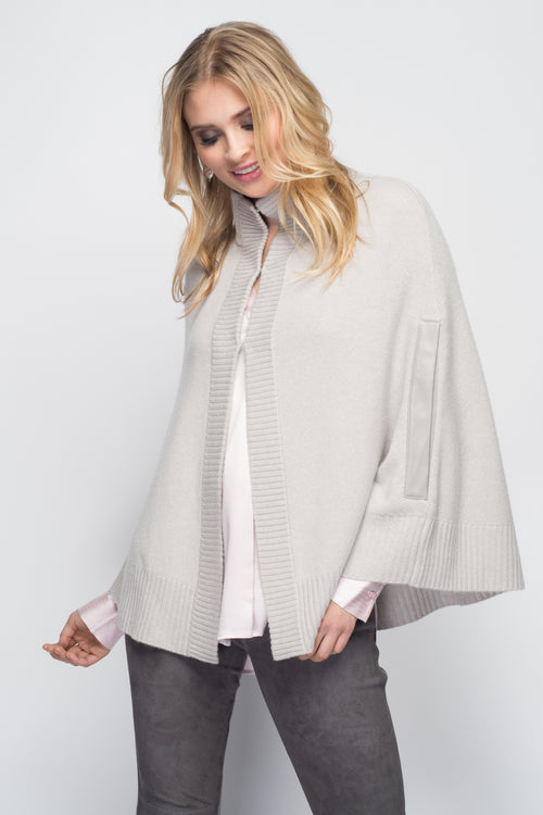 Cashmere Swing Poncho with Leather Trim in Dove Gray