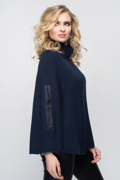 Cashmere Swing Poncho with Leather Trim in Midnight Blue