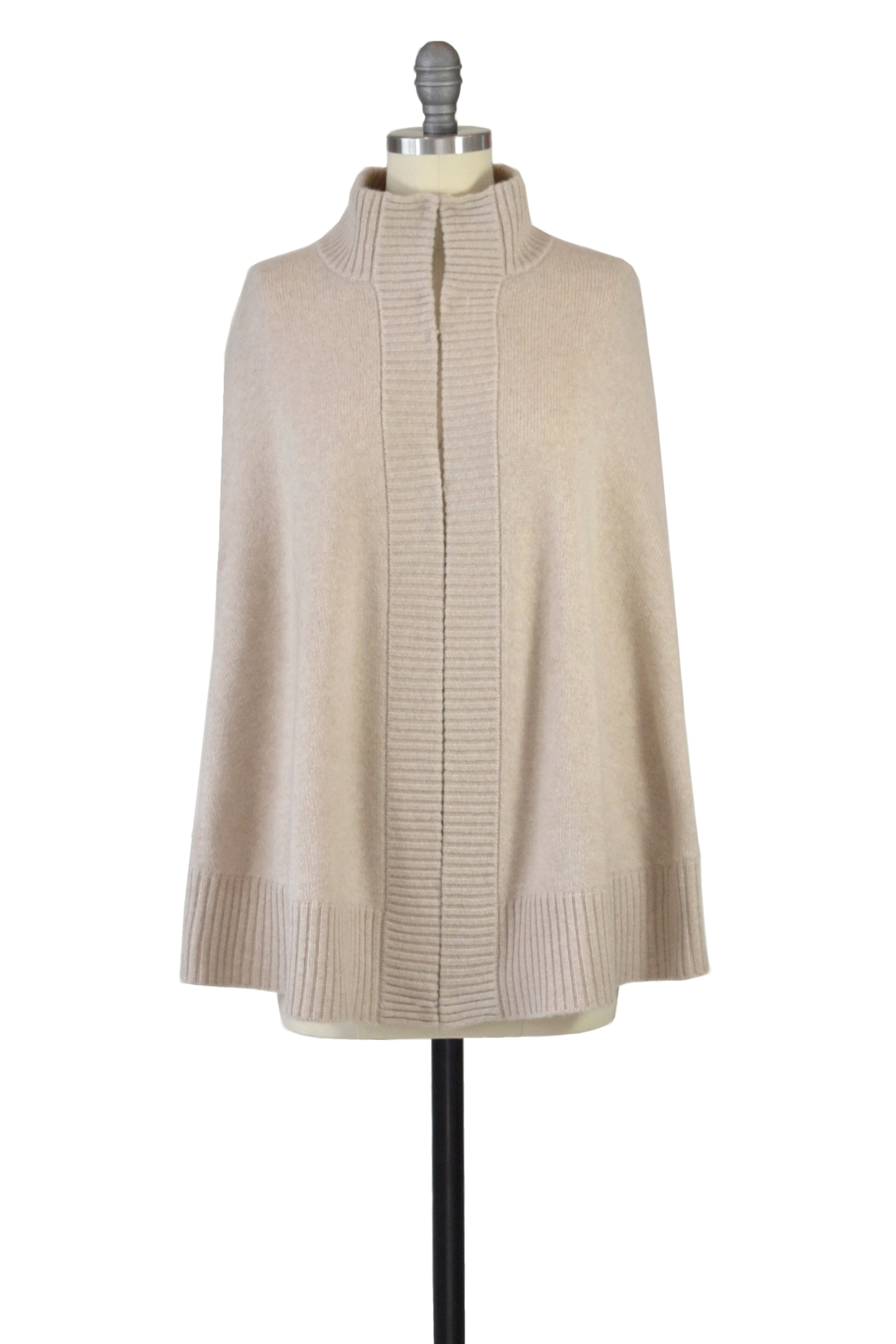 Cashmere Swing Poncho with Leather Trim in Oatmeal