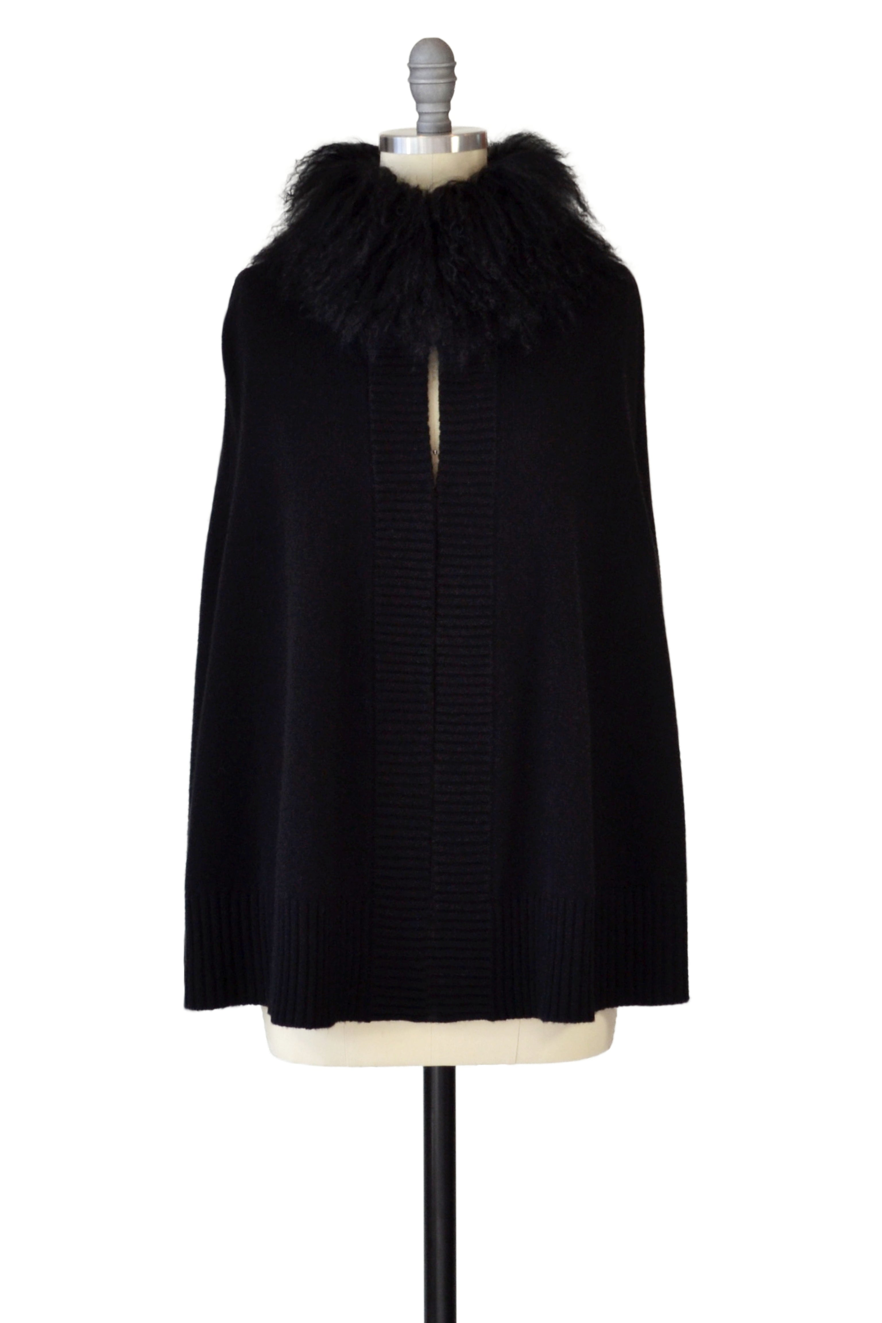 Cashmere Cape Cardigan with Tibetan Sheep Collar in Black