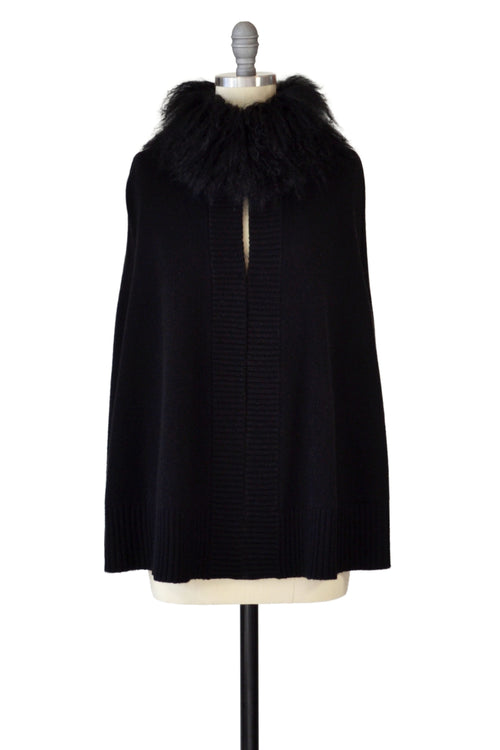 Cashmere Swing Poncho with Tibetan Sheep Collar in Black