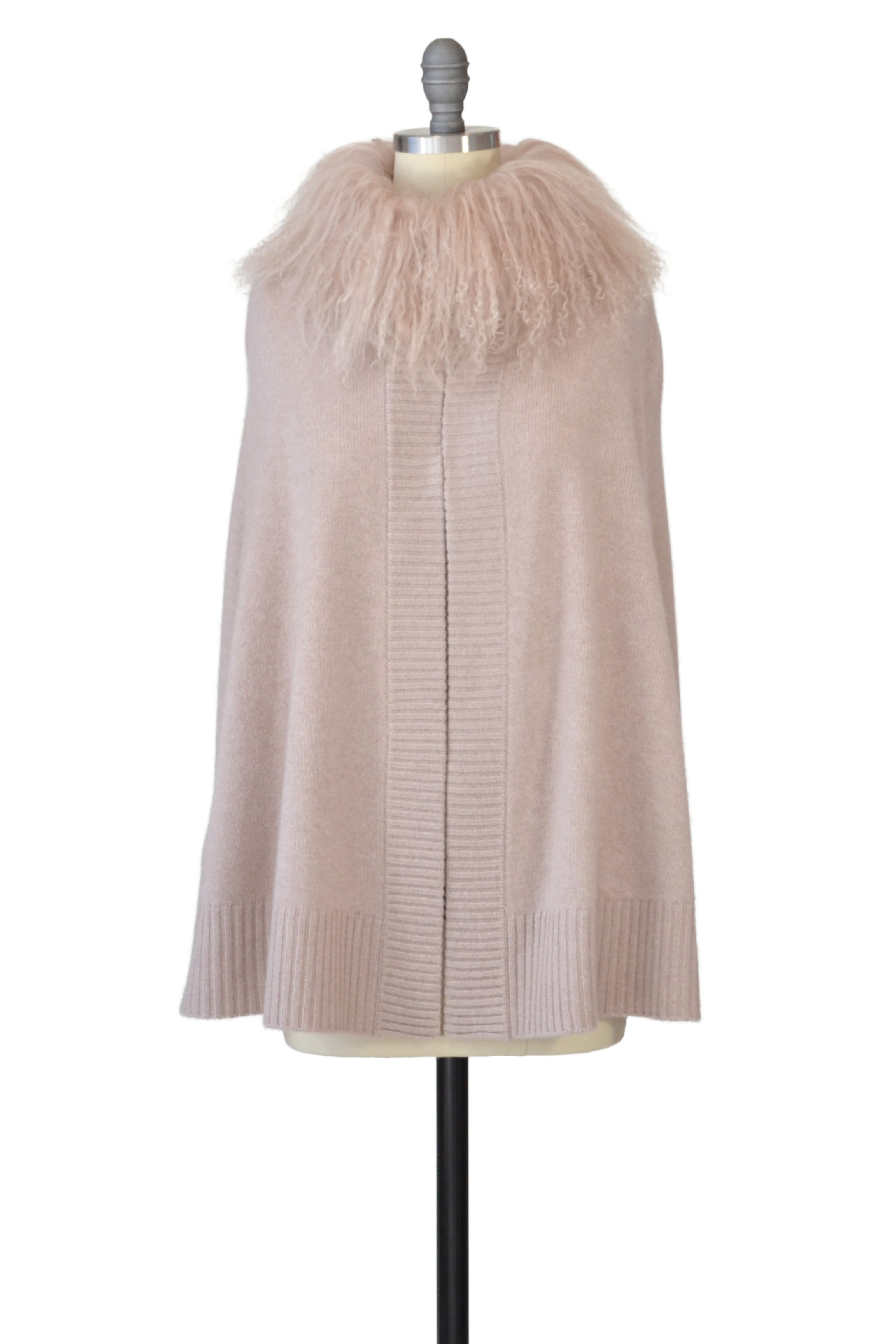 Cashmere Swing Poncho with Tibetan Sheep Collar in Blush